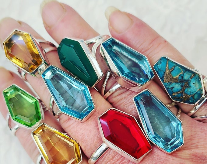 Valentines Gifts Enchanted Celtic Blessings COFFIN Rings ~ Full Blue Moon Choose Citrine, Blue Topaz, Turquoise, Peridot, Green Onyx, Garnet