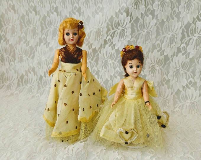 Set of 2 Vintage 1950s Celluloid Dolls ~ Sisters?  Chenille Hearts on Organza Dresses