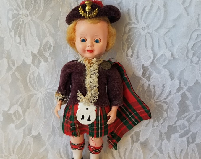 SCOTLAND Scottish Souvenir Doll ~ Celluloid 7.5 Inch Red Tartan Kilt ~ Jamie Fraser Doll ~ National Dress Doll ~ Sleepy Eyes