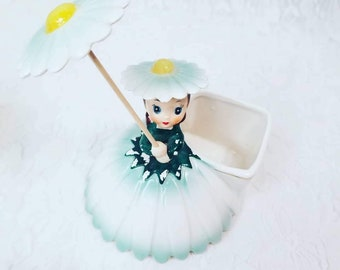Vintage 1956 NAPCO Flower Girl Planter # A1702C ~ Beautiful Little Flower Girl Figurine ~ Rare and Hard to Find!