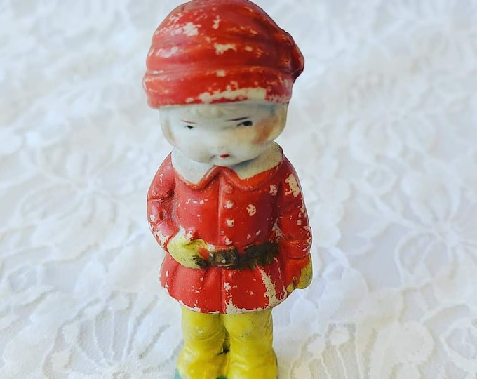"""Miniature Frozen Charlotte Bisque 3"""" Doll ~ Solid Arms ~ Painted Face ~ Made in Japan ~ 1930's Miniature Porcelain Baby Doll"""