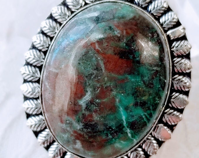 Unique OOAK Azurite In Chrysocolla Pendant ~ 925 Sterling Silver ~ Crystal Energy ~ Communication ~ Psychic Abilities ~ Third Eye