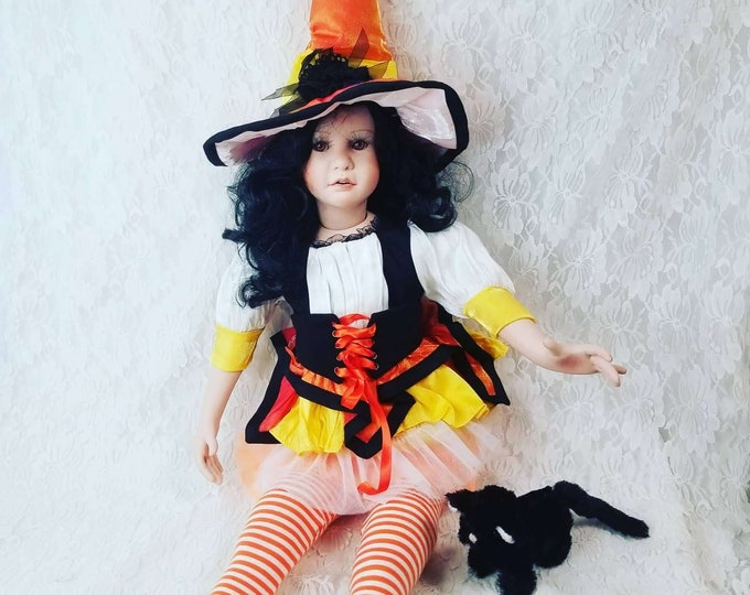 """No Reserves! Abitha Haunted Doll ~ HUGE 27"""" Victorian Porcelain Sitting Doll ~ Paranormal ~ Salem Witch Trials ~ Magick ~ History"""