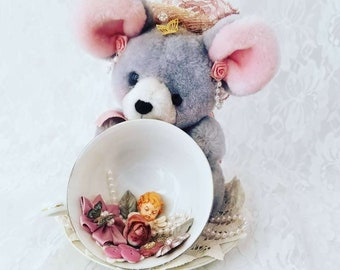 Vintage Handmade Assemblage Art with a Stuffed Mouse and Tea Cup and Saucer ~ Repurposed Art ~ Gift for Grandma!