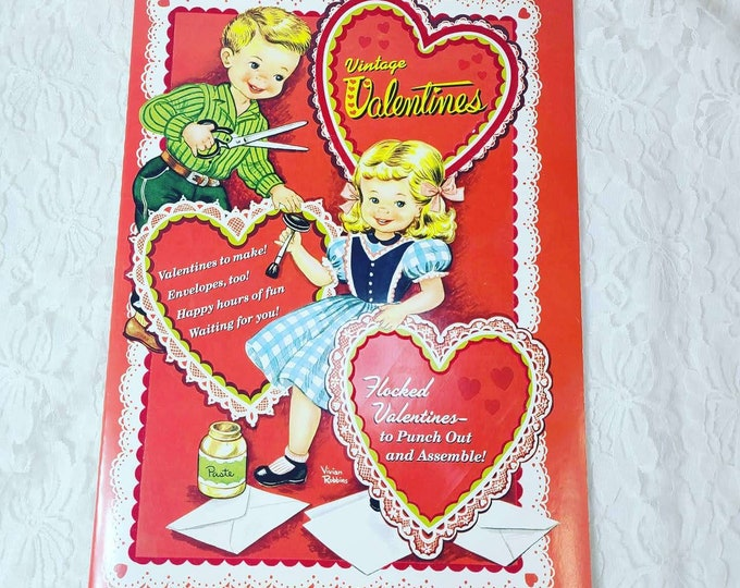 Vintage VALENTINES ~ Cut Out Valentine Book ~ Flocked Valentines to Punch out & Assemble ~ Vintage Valentines Originally Published In 1945