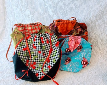 DISCOUNTED Handmade! Lunch Bag with Drawstring ~  Eco Friendly ~ Choose Style ~ Make Up Bag ~ Storage Bag ~ Washable