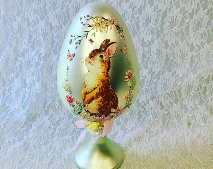 """Huge Victorian Glass Metallic Pedestal Egg 12"""" ~ Easter Decoration ~ Vintage Easter ~ Spring ~ Tabletop Decoration ~ Springtime Decor"""