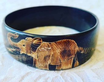 Bohemian Hand Carved Water Buffalo Horn ~ Engraved Elephant Peacock Bangle Bracelet ~ Engraved ~ India ~ 24mm Wide ~ Boho Hippie Bracelet