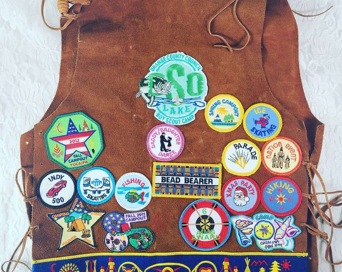 VINTAGE Uniform Vest Indian Guides Y-Princess ~ YMCA ~ Girl Scouts ~ Campfire Girls ~ Vest with Tooth Bead ~ Multiple Patches