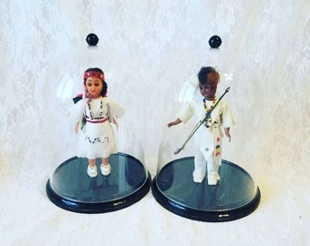"Set of Two (2) Native American Indian 1950s Celluloid 7"" Plastic Dolls ~ Dome Display Cases ~ Real Leather Clothing ~ Souvenir Doll"