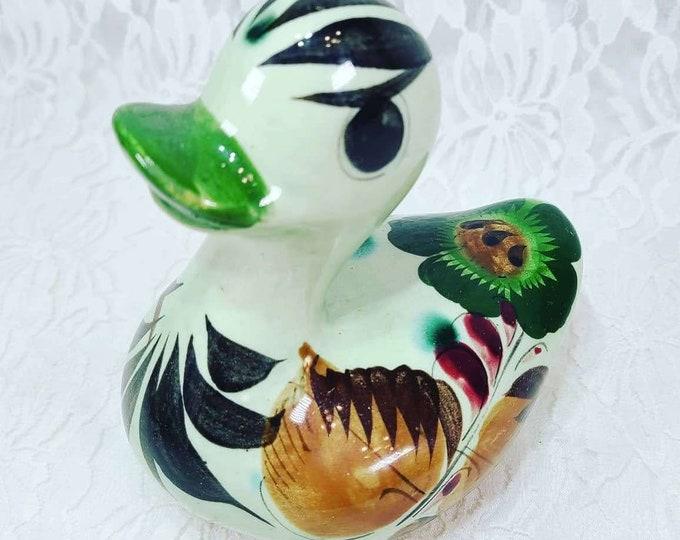 "RARE Duck! Statue Figurine 4""by 5"" TONALA Mexican Folk Art Hand Painted Terracotta Art Pottery"