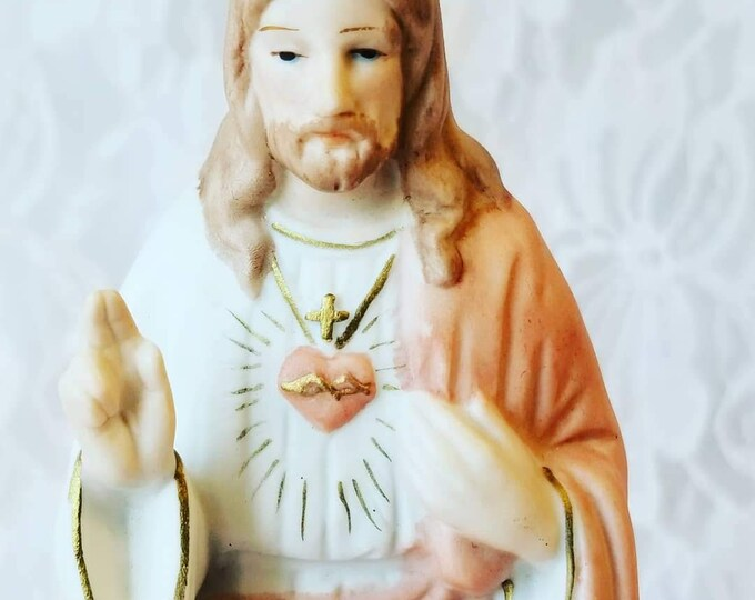 "Vintage Catholic Christian ""Flaming Heart"" Jesus Christ 6.75"" Statue ~ Roman Imports ~ 1970s"