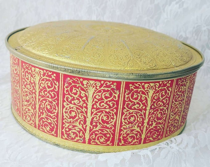 RARE Biscuit Tin ~ Vintage Embossed Tin Container Round ~ Guildcraft New York USA Gold Tone ~ Unique Trinket Box ~ Domed Lid