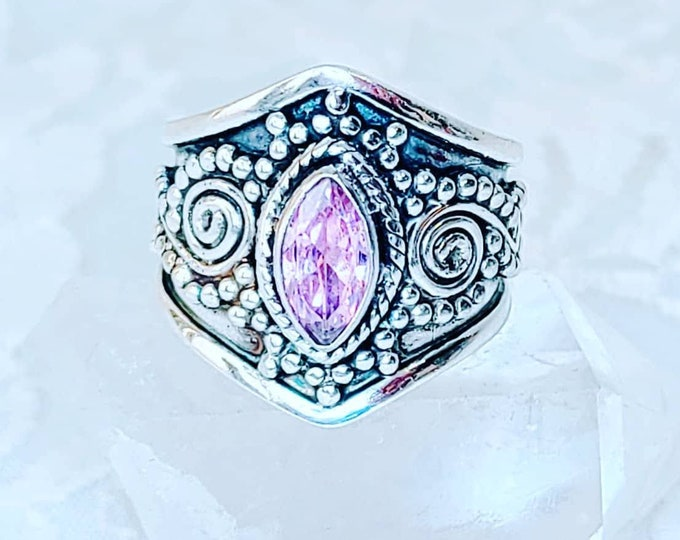 Bali Style Raw Pink Tourmaline Ring ~ Size 8 ~ Sterling Silver ~ Crystal Healing Energy ~ Anxiety ~ Emotional Healing ~ Stress ~ Depression