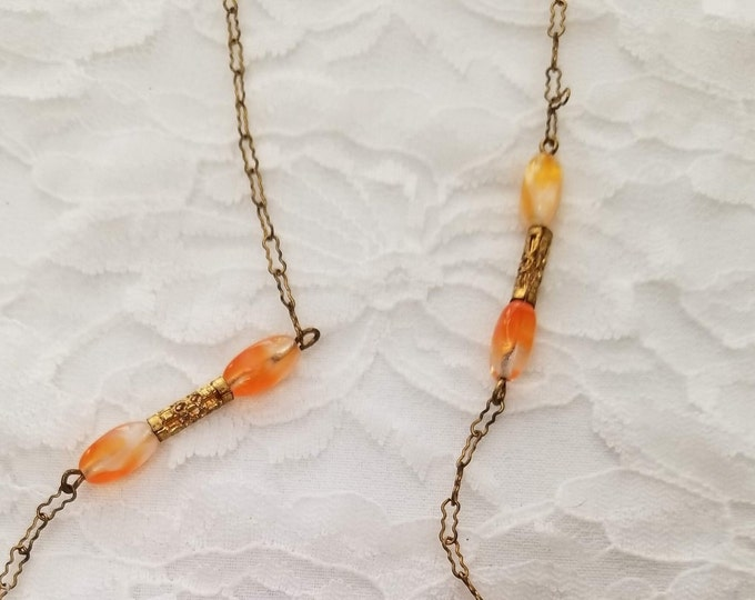 "CLEARANCE Vintage Mid Century 1960s Glass Bead Sweater Necklace 22"" Orange Swirl Glass Beads on Bronze Chain"