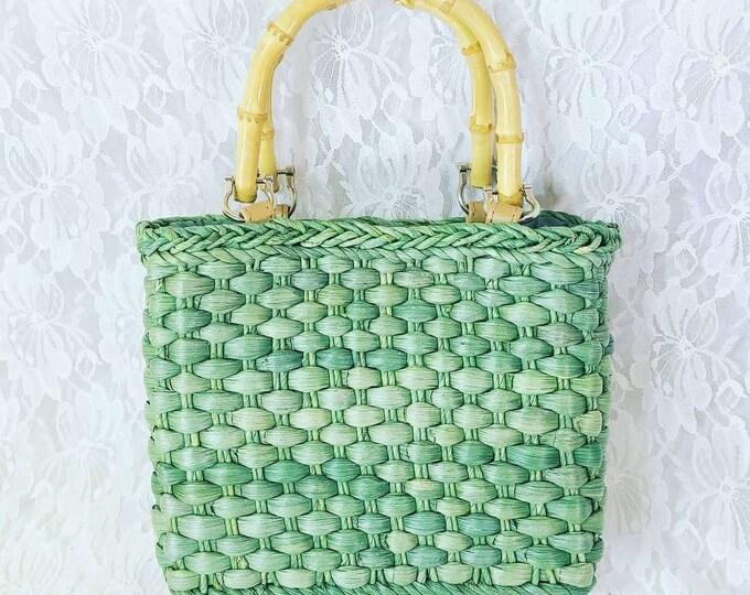 Vintage Green 1950's ROCKABILLY Straw Wicker Box Clutch Purse Handbag ~ Bamboo Rattan Handles ~ Vintage Wedding ~ Vintage Prom