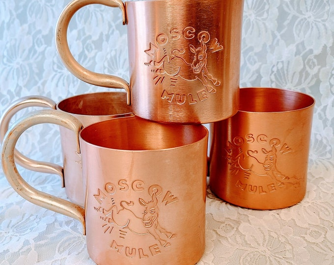 Vintage Set of Four (4) Copper Moscow Mule Cup Mugs ~ Cups Set ~ Solid Copper