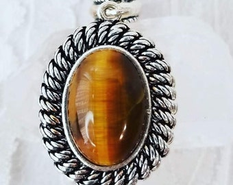 Tigers Eye Sterling Silver Pendant ~ Crystal Energy ~ Marked 925 ~ Mercury Retrograde Protection