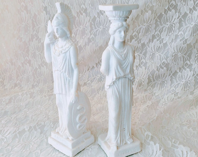 Set of Two (2) Goddess Statues ~ Athena and Caryatid Kapyatie ~ Alabaster Woman Female Greek Roman Goddess Figurine Statue ~ Made in Cyprus