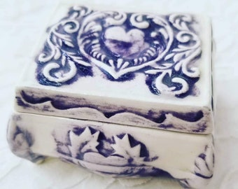 Amazing Handmade OOAK Trinket Box with Lid ~ Glazed Pottery ~ Hand Painted ~ Kiln-Fired ~ Art Pottery ~ One of a Kind ~ Signed by Artist