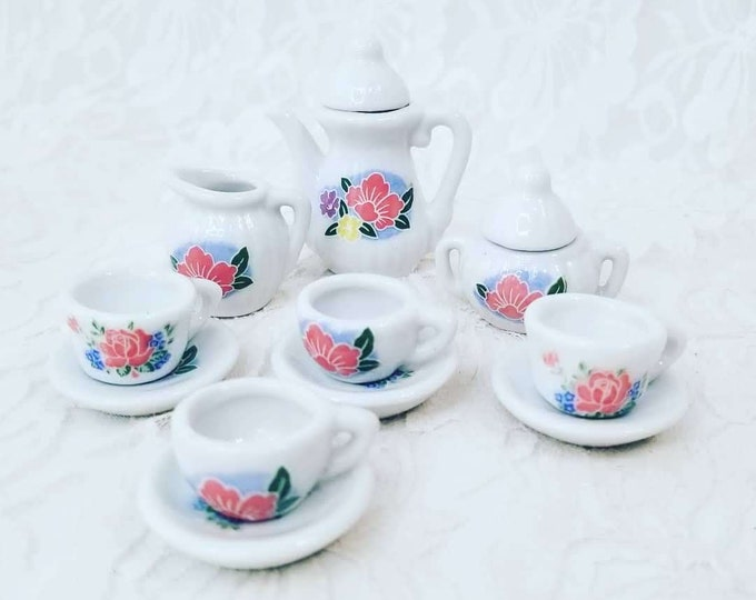 White Porcelain Doll Sized Miniature Tea Set ~ 13 piece ~ Dollhouse Miniature Tea Set ~ Collectible Tea Set 1:12 scale