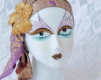 OOAK Vintage Porcelain Doll Head ~ Harlequin Jester Clown French Mime ~ Mardi Gras ~ French Quarter ~ 1920s Flapper Doll Head