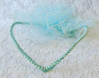 Vintage BLUE Beaded Pearl Headpiece Fascinator Veil ~ Tulle Pearl Beads Headpiece ~ Headband Wedding Bridal