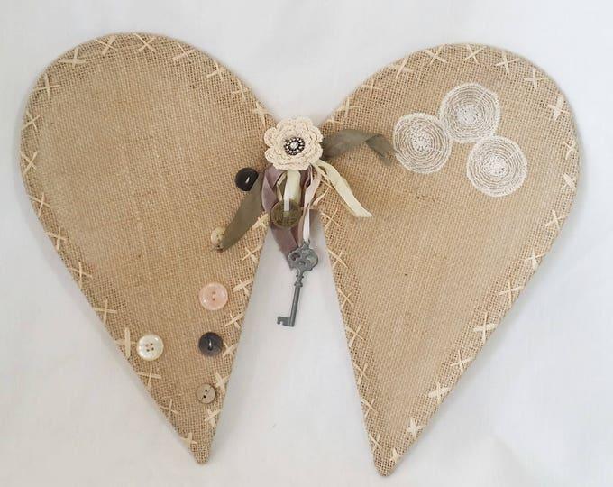 Child Sized Rustic Burlap Fairy Angel Wings ~ Angel Cherub Decor ~ Halloween Costume ~ To Wear or Display
