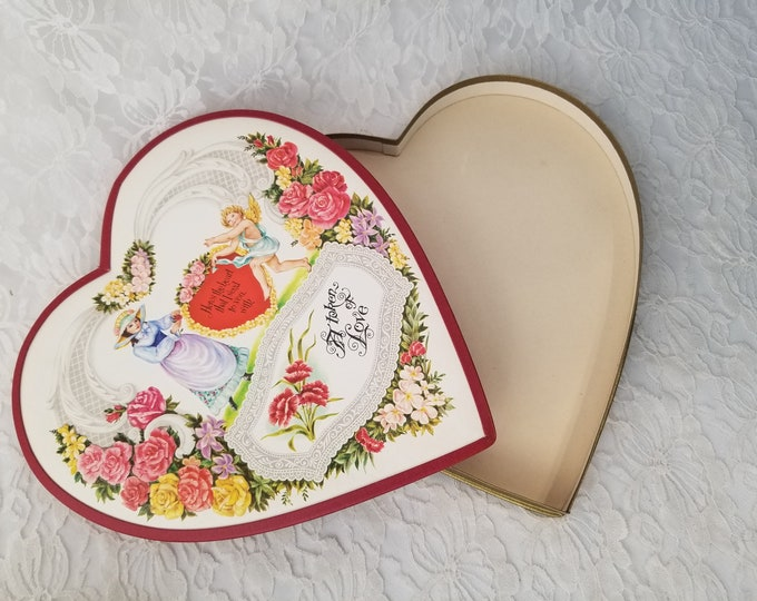 """9.5"""" Vintage Whitman Candy Box Valentine Heart Embossed Top #577 With Original Shipping Box with Handwritten """"For My Mother"""""""