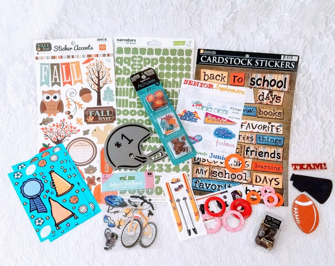 HUGE Lot of Sports-Themed Stickers, Die Cuts, Brads, and Scrapbooking Supplies for Paper Crafts, Card-making, Scrapbooks