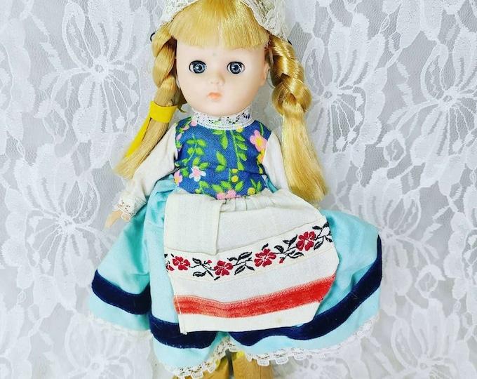 "Ginny Vogue 8"" Doll 1977 Far Away Lands Dutch Holland Blonde Blue Eyes Vintage ~ WOODEN SHOES!"