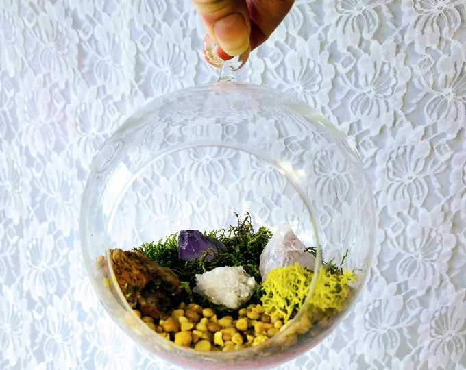 Vintage Clear Glass Hanging Crystal Terrarium Ball ~ Amethyst ~ Clear Quartz ~ Candle Quartz Druzy
