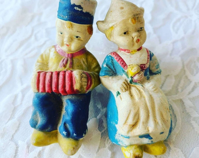 OLD Antique Chalkware Set of Boy and Girl Figurines ~ Amazing Condition ~ Dutch Children Sitting ~ Vintage Chalkware