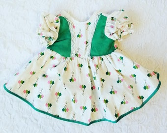 """Factory Made 1940s Doll Dress for 18-22"""" Composition Doll ~ Adorable Vintage Fabric ~ Not Tagged"""