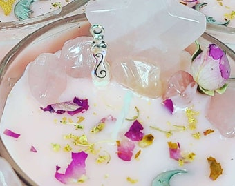 Celestial Rose Quartz Moon and Star Communication and Dream Candle ~ Spellcast Soy Wax Candle & Charged Crystals