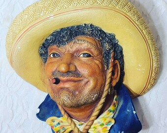 RARE Gorgeous BOSSONS 1960 Vintage Chalkware Head ~ Poncho ~ Marked on Back and Underneath ~ Sold As-Is See Pictures