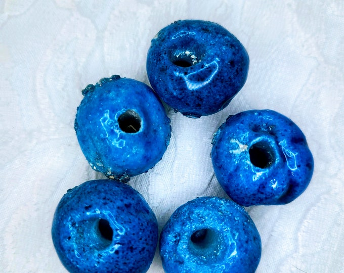 Lot of 5 Blueberry Beads Handmade Clay Beads ~ 1970s Macramé Mixed Lot ~ Blue Textured ~ Large Hole Beads