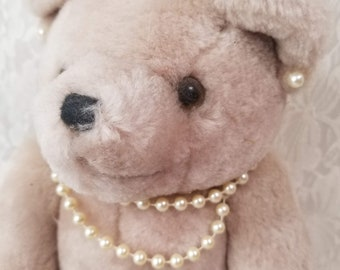Handmade OOAK Jointed Art Bear Teddy Bear with Pearls ~ Ready for Dressing