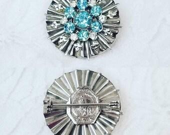 Vintage Two-Sided Blue Rhinestone Brooch ~ Religious Pin Fatima CATHOLIC ~ Fatima Brooch ~ Church Jewelry