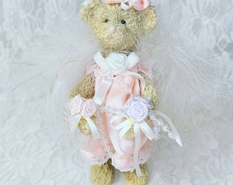 """Vintage 6"""" Little Pink Bear Figurine ~ Pink Dress ~ Holding Flowers with White Ribbons ~ Wearing Fancy Flower Hat and REAL Ostrich Feathers"""