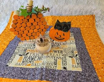 Handmade! Halloween Table Runner ~ Orange ~ Purple ~ Unique ~ Quilt Style ~ OOAK Fall Decor ~ Black on the Underside