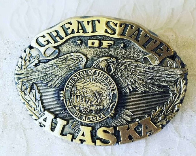 """Solid Brass Etched Belt Buckle ~ """"Great State of Alaska"""" ~ Cowboy Cowgirl Belt Buckle ~ New Old Stock"""