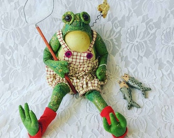 """Handmade Primitive Frog ~ Unknown Doll Artist ~ 12"""" Painted Oilcloth Fabric Textile Rag Doll"""