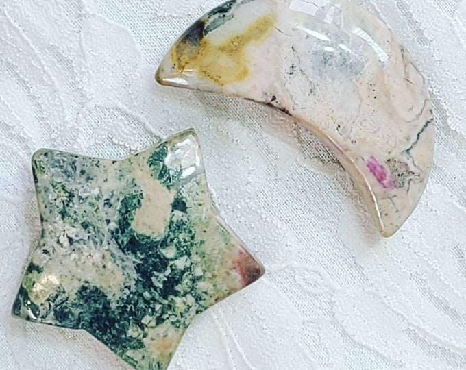 No Reserves Hand Carved Moon and Star SET Altar Piece ~ 47g Crystal MAGICK ~ Rhodonite ~ Healing Magick ~ Reiki ~ Energy Work