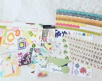 HUGE Lot of Garden, Spring, Flowers, Border Stickers, Die Cuts, Brads, and Scrapbooking Supplies for Paper Crafts, Card-making, Scrapbooks