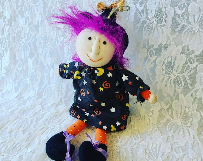 """Halloween Witch Doll 10"""" ~ Stockinette Face ~ Handmade ~ Halloween Decoration ~ Halloween Witch Doll ~ Cloth Doll"""
