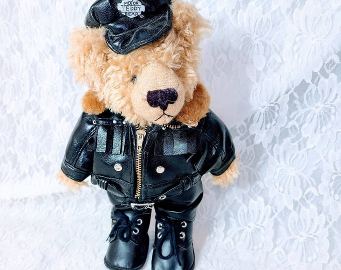 """Adorable Biker Teddy Bear Collectable Bear ~ 12"""" Teddy Bear ~ Unmarked ~ Fully Dressed in Leathers!"""