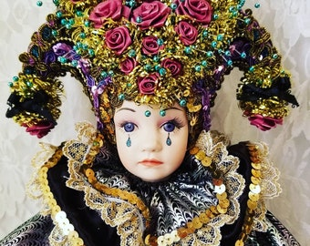 """OOAK Handmade Clowns by Ginny  Doll ~ 18"""" Harlequin Jester Clown ~ Amazing Doll for a Collector"""