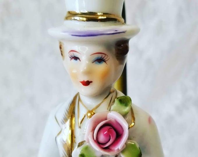 Antique Porcelain Bisque Male? Doll Lamp ~ Excellent Condition ~ Brass Stand ~ Victorian Man