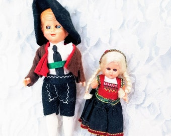 Souvenir of Europe Austria Germany Lot of 2 Souvenir International Celluloid Dolls 1950s Sleepy Eye National Dress